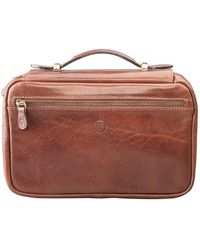 Maxwell Scott Bags - Luxury Italian Leather Women's Zip Around Toiletry Bag Cascina Chestnut Tan - Lyst