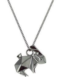 Origami Jewellery - Mini Rabbit Necklace Gun Metal - Lyst