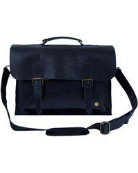 MAHI Leather Messenger Satchel Bag In Navy - Blue