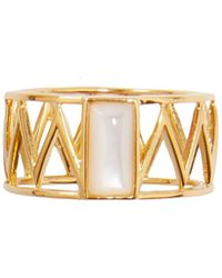 Alexandra Alberta - Yellow Gold Plated Mini Guggenheim Ring With Pearl - Lyst