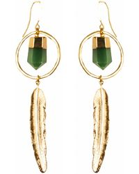 Tiana Jewel - Feather Canyon Green Quartz Hoop Earrings Gold - Lyst