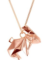 Origami Jewellery - Rabbit Necklace Pink Gold Plated - Lyst