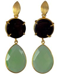 Magpie Rose - Black Onyx & Green Chrysoprase Earrings - Lyst