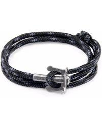 Anchor & Crew - Black Union Silver & Rope Bracelet - Lyst