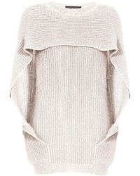 Rumour London - Cara Cape Effect Merino Wool Ribbed Knit Sweater In Cream - Lyst