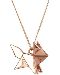 Origami Jewellery - Fox Necklace Rose Gold - Lyst