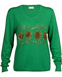 Asneh - Sequin And Bead Embellished Krystle Cashmere Sweater In Green - Lyst