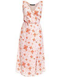 Philosofée - Tangerine Floral Chiffon Mid Wrap Dress - Lyst