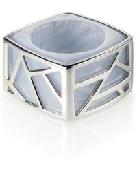 Ona Chan Jewelry - Square Cocktail Ring Blue Lace Agate - Lyst