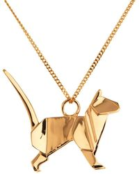 Origami Jewellery Sterling Silver & Gold Cat Origami Necklace - Metallic