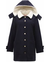 TOMCSANYI - Krakow Hooded Coat Navy - Lyst
