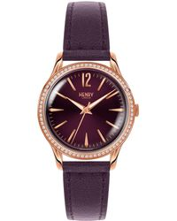 Henry London - Ladies 34mm Hampstead Leather Watch With Purple Dial And Stone Set Bezel - Lyst