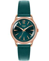 Henry London - Ladies 34mm Stratford Leather Watch With Stone Set Bezel - Lyst