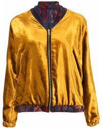 Klements - Penny Bomber Reversible In Gold Velvet & Gothic Floral Print - Lyst