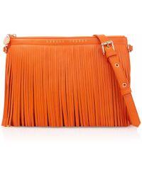 London Velvet - Siena Orange Fringe Clutch - Lyst