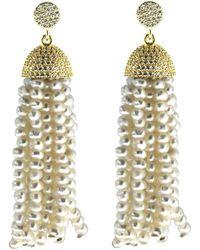 Cosanuova - Sterling Silver Pearl Tassel Earrings In Yellow Gold - Lyst