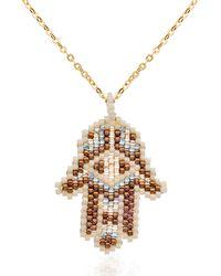 Azuni London - Hamsa Necklace In Desert - Lyst