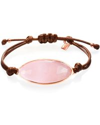 Ona Chan Jewelry - Lattice Corded Bracelet Rose Quartz - Lyst