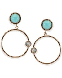 Vintouch Italy - Satellite Rose Gold Amazonite Hoop Earrings - Lyst