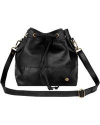 MAHI Classic Bucket Drawstring Bag In Black Leather