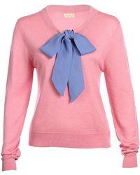 Asneh - Helen Sweater Candy Pink With Cornflower Blue Silk Tie - Lyst