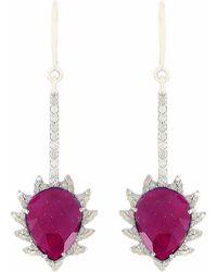 Meghna Jewels - Claw Linear Drop Earrings Ruby & Diamonds - Lyst