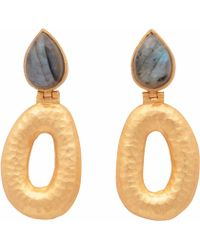 Carousel Jewels - Matte Gold Finish Labradorite Earrings - Lyst