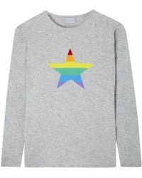 Orwell + Austen Cashmere - Stars & Stripes Rainbow Cashmere Sweater Light Grey - Lyst