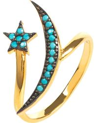 LÁTELITA London - Moon & Star Ring Gold Turquoise - Lyst