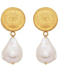 Carousel Jewels - Antique Coin And Pearl Earrings - Lyst