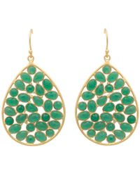 Carousel Jewels - Gold & Sliced Green Onyx Drop Earrings - Lyst