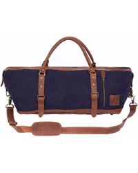MAHI Leather | Leather Long Armada Duffle Large Weekend Overnight Holdall In Navy Blue Canvas | Lyst