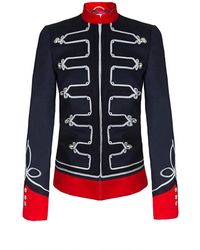 The Extreme Collection - Navy Blue Military Jacket With Embroidiery - Lyst