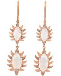 Meghna Jewels - Double Drop Marquise Earring Moonstone Alt - Lyst