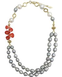 Farra - Freshwater Pearls With Floral Corals Double Strands Necklace - Lyst
