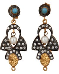 Carousel Jewels - Delicate Pearl Turquoise & Crystal Earrings - Lyst