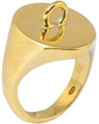 Glenda López - 18kt Gold Dipped Link Signet Ring - Lyst