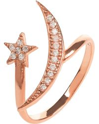 LÁTELITA London Moon & Star Ring Rosegold White Cz