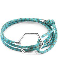 Anchor & Crew - Turquoise Blue Storey Silver & Braided Leather Bracelet - Lyst