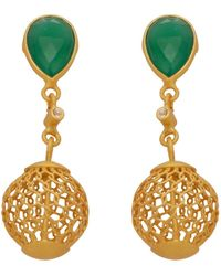 Carousel Jewels - Gold Cage And Green Onyx Earrings - Lyst