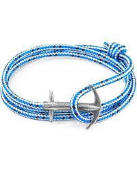 Anchor & Crew - Blue Dash Admiral Anchor Silver And Rope Bracelet - Lyst