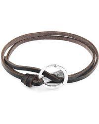 Anchor & Crew - Dark Brown Ketch Anchor Silver & Flat Leather Bracelet - Lyst