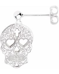 CarterGore - Silver Sugar Skull With Heart Eyes Single Short Drop Earring - Lyst
