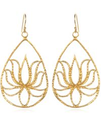 Satya Jewelry - Teardrop Gold Lotus Earrings - Lyst