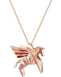Origami Jewellery - Sterling Silver & Pink Gold Mini Pegaze Origami Necklace - Lyst
