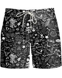 Aloha From Deer Doodle Board Shorts - Black
