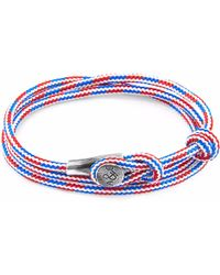 Anchor & Crew | Project-rwb Red White & Blue Dundee Silver And Rope Bracelet | Lyst