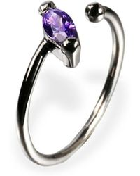 Ona Chan Jewelry - Little Jewels Open Ring Marquis Violet & Black - Lyst