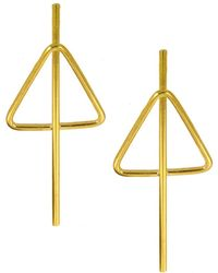 Ottoman Hands - Gold Triangle Stud Earrings - Lyst