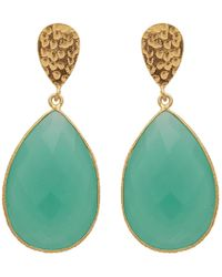 Carousel Jewels - Double Drop Aqua Chalcedony & Golden Nugget Earrings - Lyst